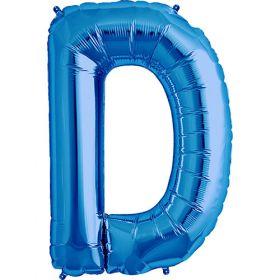 34 inch Blue Letter D Foil Mylar Balloon