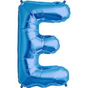 34 inch Blue Letter E Foil Mylar Balloon