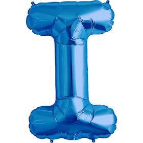 34 inch Blue Letter I Foil Mylar Balloon