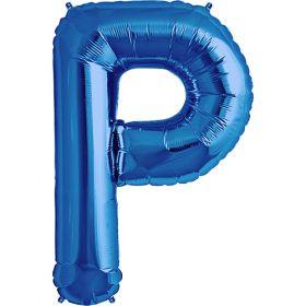 34 inch Blue Letter P Foil Mylar Balloon