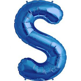 34 inch Blue Letter S Foil Mylar Balloon