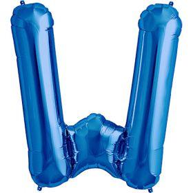 34 inch Blue Letter W Foil Mylar Balloon