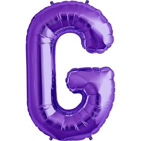 34 inch Purple Letter G Foil Mylar Balloon