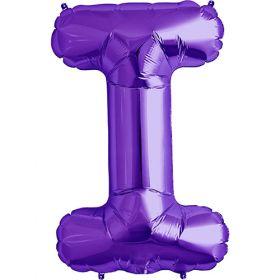 34 inch Purple Letter I Foil Mylar Balloon