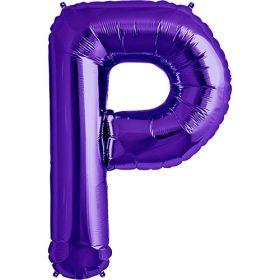 34 inch Purple Letter P Foil Mylar Balloon