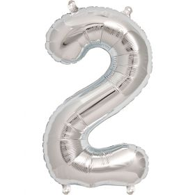 16 inch Silver Number 2 Foil Mylar Balloon