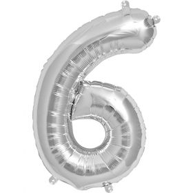 16 inch Silver Number 6 Foil Mylar Balloon