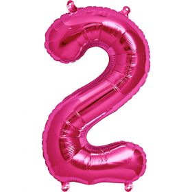 16 inch Magenta Number 2 Foil Mylar Balloon