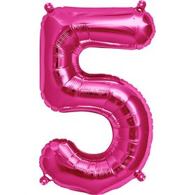 16 inch Magenta Number 5 Foil Mylar Balloon
