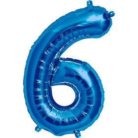 16 inch Blue Number 6 Foil Mylar Balloon