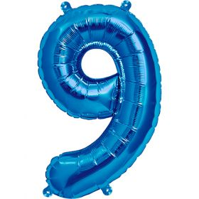 16 inch Blue Number 9 Foil Mylar Balloon