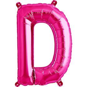 16 inch Magenta Letter D Foil Mylar Balloon