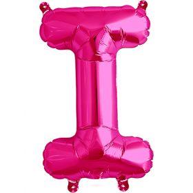16 inch Magenta Letter I Foil Mylar Balloon