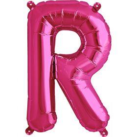16 inch Magenta Letter R Foil Mylar Balloon
