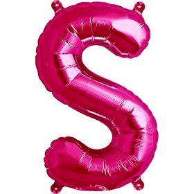 16 inch Magenta Letter S Foil Mylar Balloon