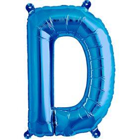 16 inch Blue Letter D Foil Mylar Balloon