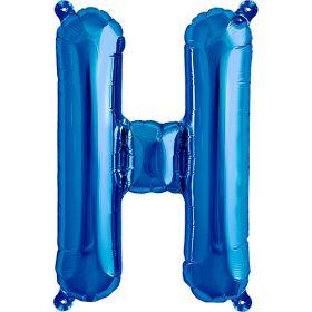 16 inch Blue Letter H Foil Mylar Balloon