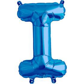 16 inch Blue Letter I Foil Mylar Balloon