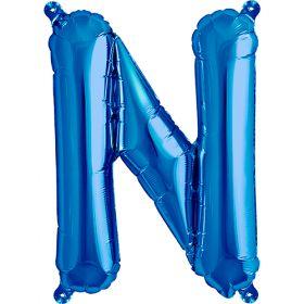 16 inch Blue Letter N Foil Mylar Balloon