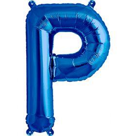 16 inch Blue Letter P Foil Mylar Balloon