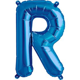 16 inch Blue Letter R Foil Mylar Balloon