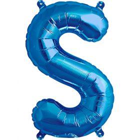 16 inch Blue Letter S Foil Mylar Balloon
