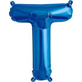16 inch Blue Letter T Foil Mylar Balloon