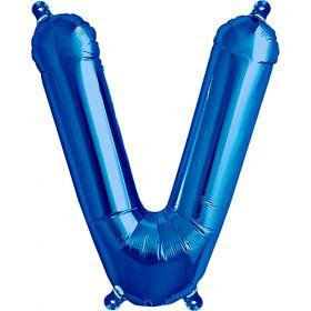 16 inch Blue Letter V Foil Mylar Balloon