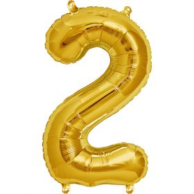 16 inch Gold Number 2 Foil Mylar Balloon