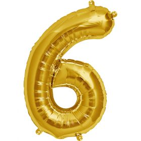 16 inch Gold Number 6 Foil Mylar Balloon