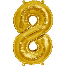 16 inch Gold Number 8 Foil Mylar Balloon