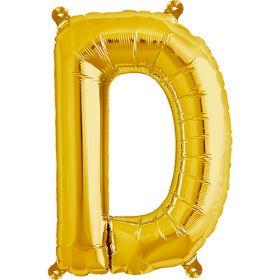 16 inch Gold Letter D Foil Mylar Balloon
