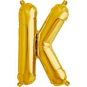 16 inch Gold Letter K Foil Mylar Balloon