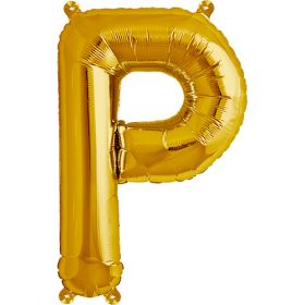 16 inch Gold Letter P Foil Mylar Balloon