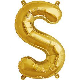 16 inch Gold Letter S Foil Mylar Balloon