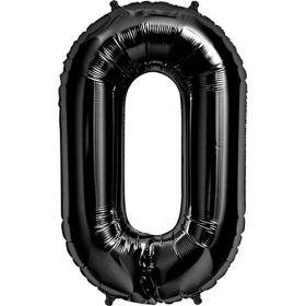 34 inch Black Number 0 Foil Mylar Balloon