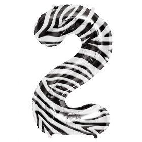 34 inch Zebra Stripe Number 2 Foil Mylar Balloon