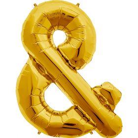 34 inch Gold Ampersand Foil Mylar Balloon