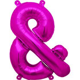 16 inch Magenta Ampersand Foil Mylar Balloon