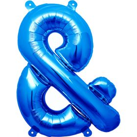 16 inch Blue Ampersand Foil Mylar Balloon