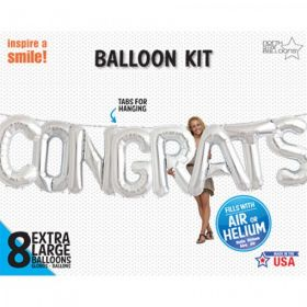 34 inch CONGRATS Silver Letter Balloon Kit