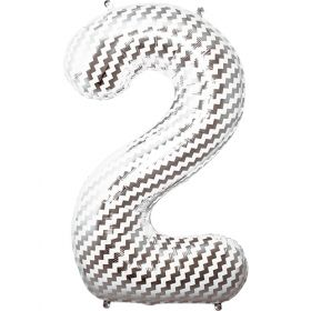 34 inch Chevron Print Number 2 Foil Mylar Balloon