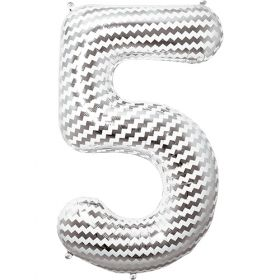 34 inch Chevron Print Number 5 Foil Mylar Balloon