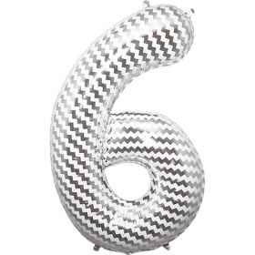 34 inch Chevron Print Number 6 Foil Mylar Balloon