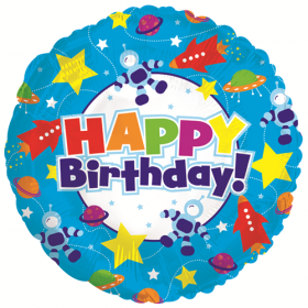 18 inch Foil Mylar Circle Happy Birthday Outer Space Balloon