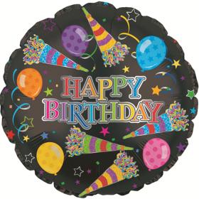 18 inch Foil Mylar Circle Rainbow Happy Birthday Party Horns Balloon