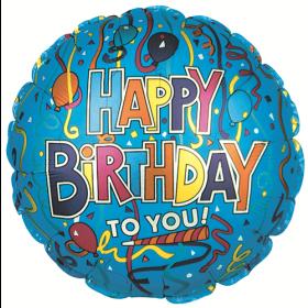18 inch Foil Mylar Circle Festive Birthday Blue Balloon