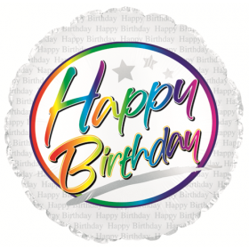 18 inch Foil Mylar Circle Birthday Rainbow Script Balloon