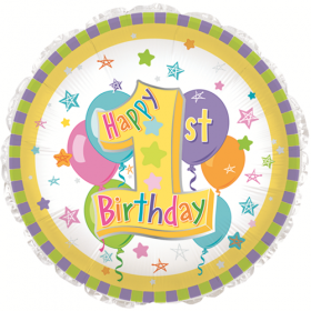 18 inch Foil Mylar Circle Pastel 1st Birthday Balloon