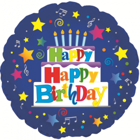 18 inch Foil Mylar Circle Happy Happy Birthday Blue Balloon